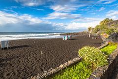 The coast of Atlantic ocean in Puerto De La Cruz, one of the most popular tou - stock photo