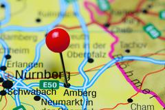 Amberg pinned on a map of Germany - stock photo