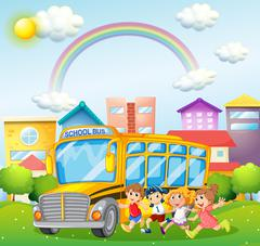 Children and school bus in the park Stock Illustration