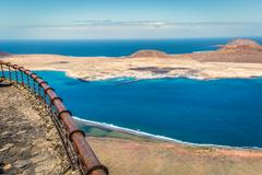 View of Graciosa Island from Mirador del Rio, Lanzarote Island, Canary Island - stock photo