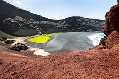 Green Lagoon at El Golfo, Lanzarote, Canary Islands - stock photo