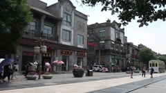 Beijing, China - Qianmen Street - famous pedestrian street Stock Footage