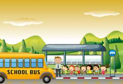 Children getting on school bus at bus stop Stock Illustration