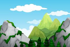 Nature scene with mountains at daytime Stock Illustration