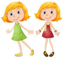 Blond girl in two costumes Stock Illustration