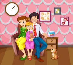 Girl and her family in the living room Stock Illustration