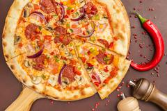 Homemade  Pizza with Pepperoni - stock photo