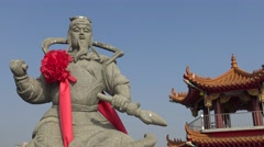 4k, statue of a god at the Taoist temple in Pei Chi Pavilion, Kaohsiung-Dan - stock footage