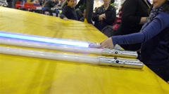 Test Laser Light Saber Star Wars, For A Sword Handling Workshop - stock footage