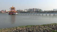 4k, Spring and Autumn Pavilions is a Taoist temple on Lotus Lake, Kaohsiung-Dan - stock footage