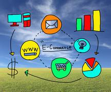 Business concept E-Commerce in hand drawing idea. - stock photo