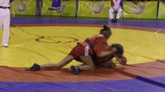 Girls compete in Sambo Stock Footage