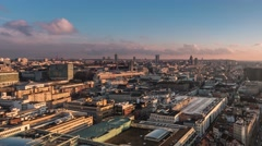 Pan timelapse of brussels skyline day to night Stock Footage