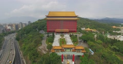 Aerial shot of Grand hotel in Taipei, Taiwan Stock Footage