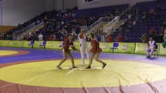 Girls compete in Sambo - stock footage
