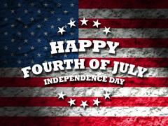 Happy Fourth of July greeting card with american flag grunge style background - stock illustration