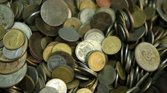 Showcases with coins  in a medieval market Stock Footage