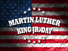 Martin Luther King Jr. Day card with american flag grunge background Stock Photos