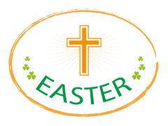 Easter day stamp style with cross symbol Stock Illustration