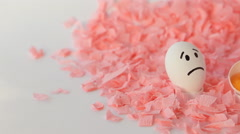 White Easter Eggs On A Pink Background - stock footage