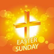 easter sunday card with cross symbol - stock illustration
