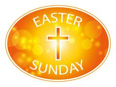easter sunday banner with cross - stock illustration