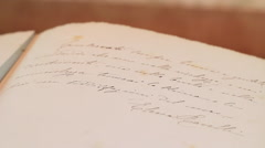 Old manuscript letter diary panoramic Stock Footage