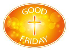 Orange cross with text Good Friday banner Piirros