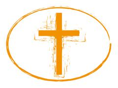 Orange grunge easter cross stamp style symbol - stock illustration