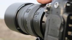 camera with big lens close up - stock footage
