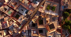 Aerial drone shot of residential buildings, Marrakesh, Morocco Stock Footage