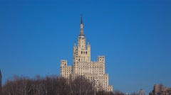 One of Moscow classic spire buildings on sunny spring day. 4K establishing shot Stock Footage
