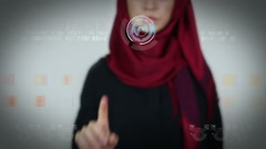 Young girl touching virtual screen / technological display Stock Footage