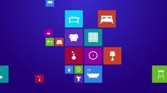 Stock Video Footage of Computer mobile application app flat home appliance furniture and interior icon
