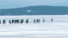 Mass Start Run at Onego Lake Ice Stock Footage