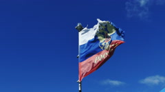 Battered Flag of Russia on the Ship - stock footage