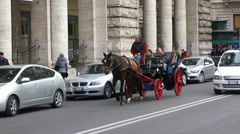 Tourists riding horse carriage in Rome Downtown Stock Footage