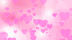 Pink hearts shapes falling down. Computer generated  abstract motion backgrou Stock Footage