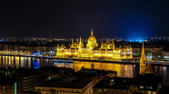 Budapest. Hungarian Parliament building with Pest panorama. Stock Footage