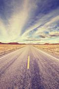 Vintage stylized endless road, USA Stock Photos
