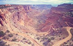 Vintage toned Views White Rim Road in Canyonlands National Park, USA - stock photo
