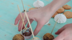 Cake pops and biscuit Stock Footage