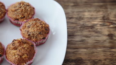 Homemade cupcakes on wooden table Stock Footage
