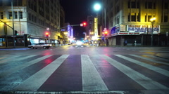4K Driving Plates LA Downtown Broadway Front View 02 South bound at 6th St Stock Footage