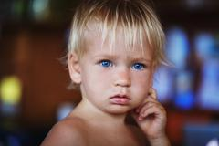 beauty blonde young boy - stock photo