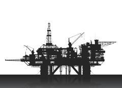 Sea oil rig. Oil platform in the deep sea. - stock illustration