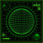 Radar screen with futuristic user interface HUD. Stock Illustration