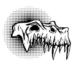 Skull of danger beast with huge fangs. Stock Illustration
