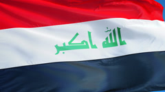 Iraq flag in slow motion seamlessly looped with alpha Stock Footage