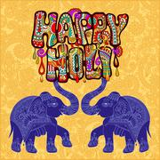Happy Holi design with two elephants on floral indian background - stock illustration